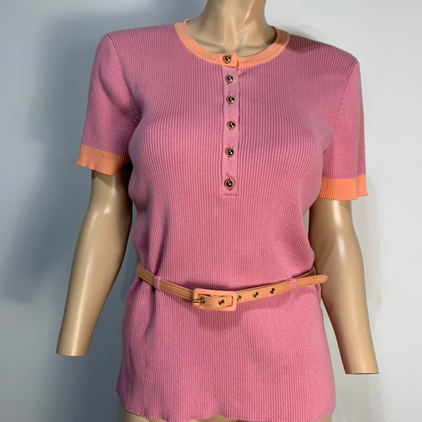 Jones New York Belted Colorblock Top XL