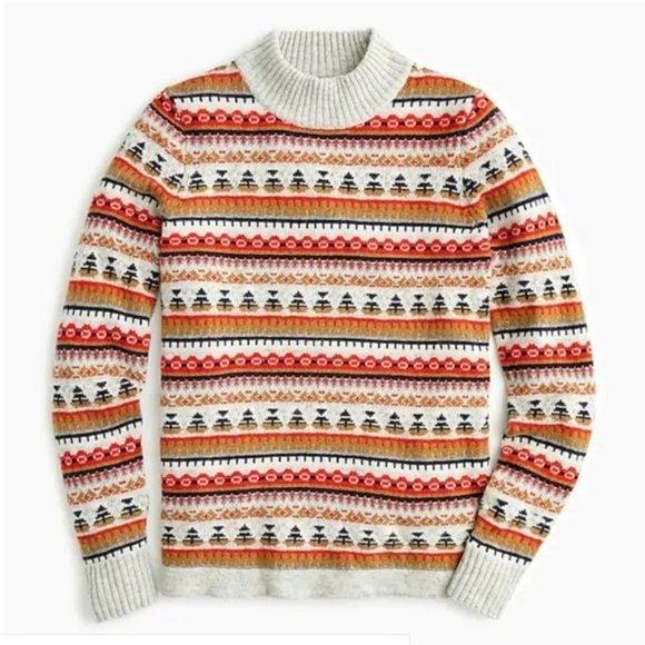 J Crew Mock Neck Fair Isle Sweater Lambswool Blend