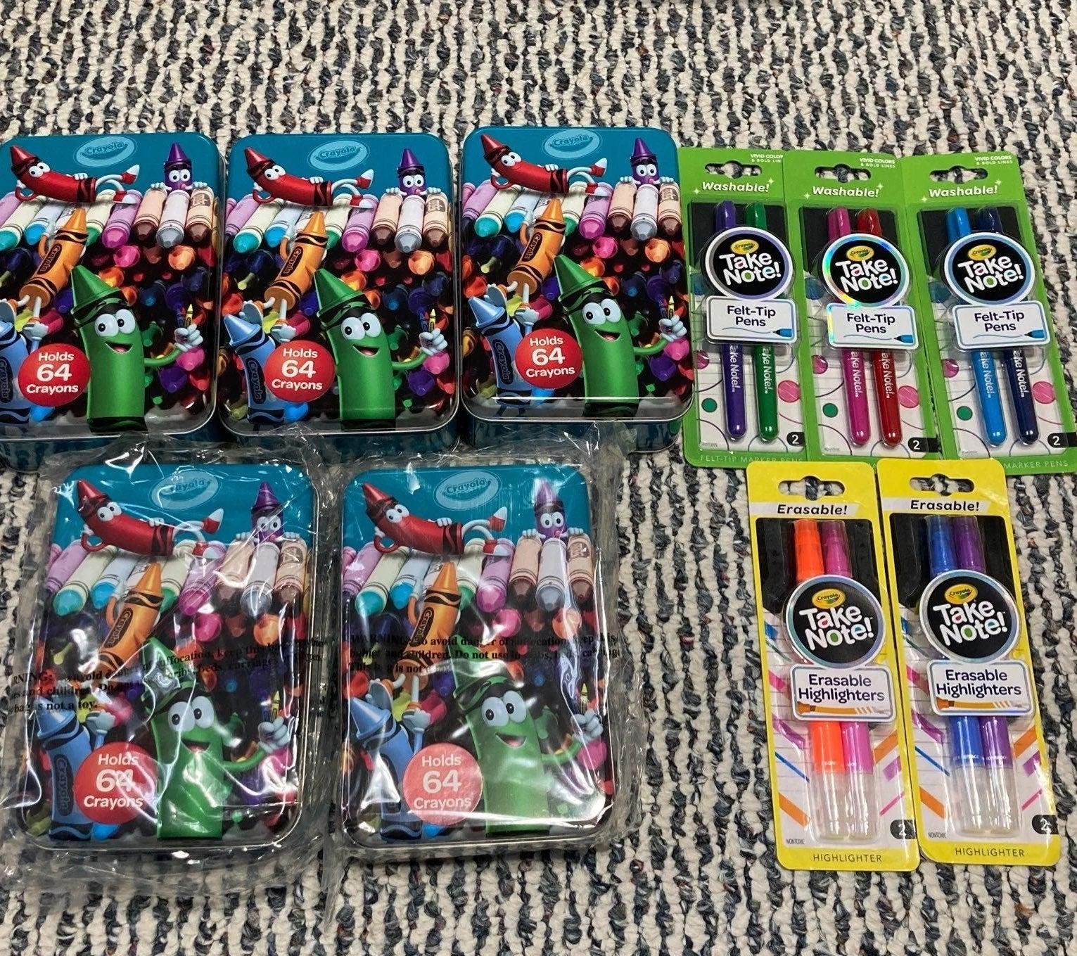 Crayola storage tins & pens
