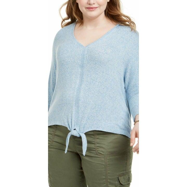 Style & Co NWT Blue Plus Size Tie-Hem Stretchy Lightweight Sweater Top 4X