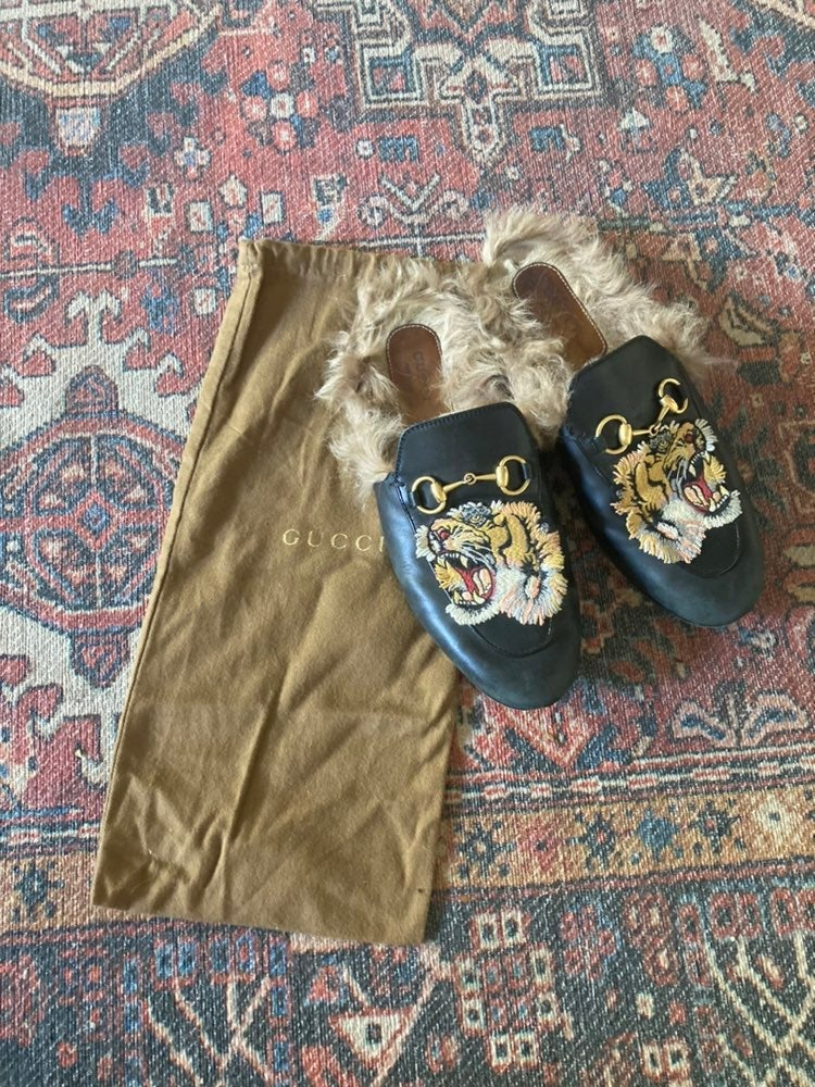 Gucci Princetown Tiger Fur Slippers