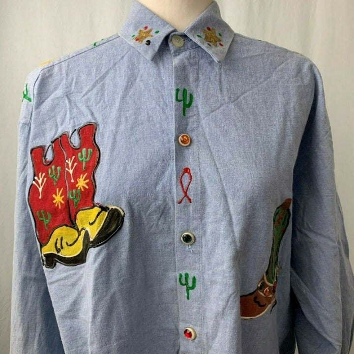 Vtg India Ink Paintworks Western Shirt