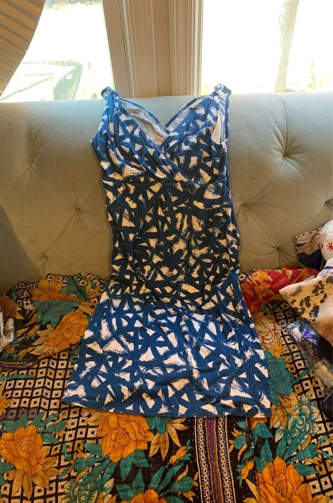 Blue patterned V neck Tank dress