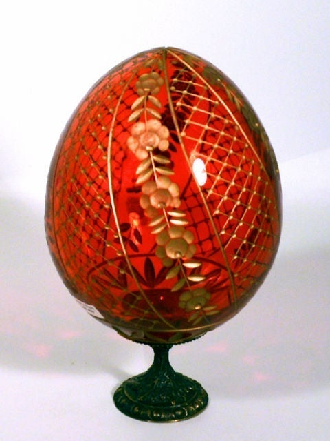 Handcrafted Russian Crystal Egg Red New