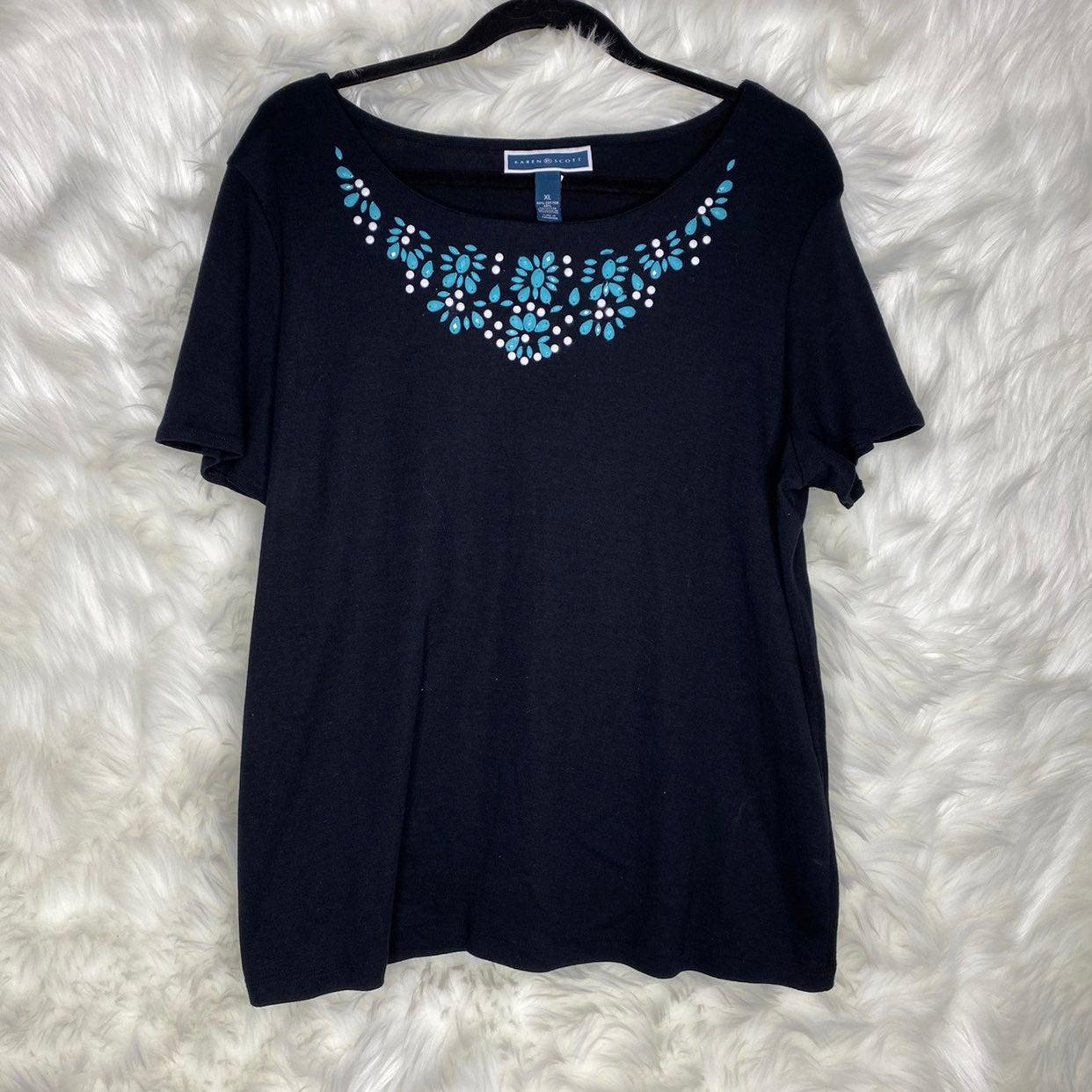 Karen Scott Black Blouse Size XL