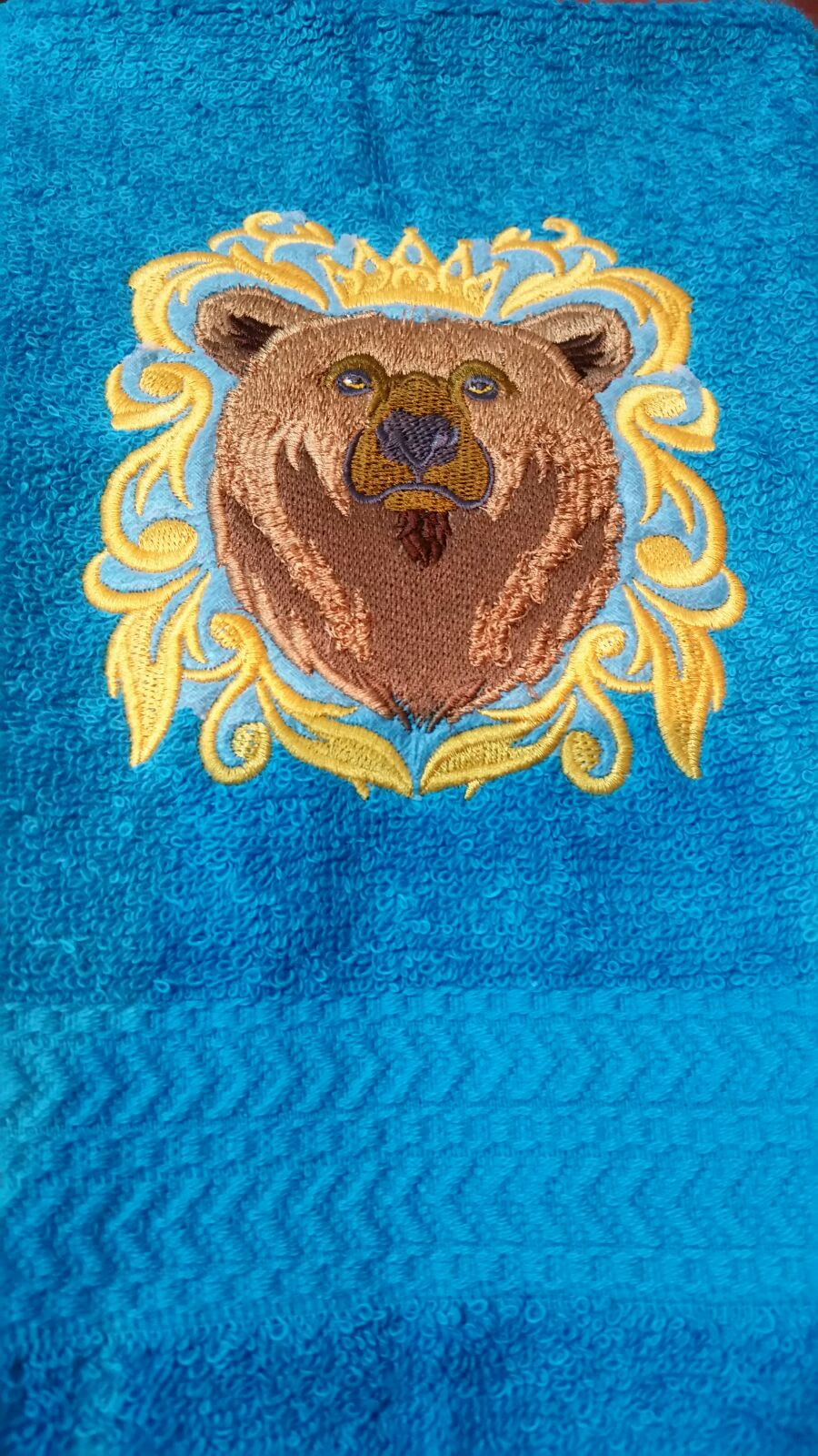 embroidered brown bear baroque towel set