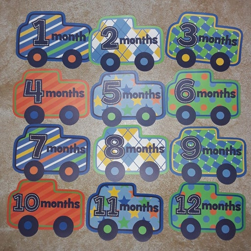 Baby month by month cut out cars