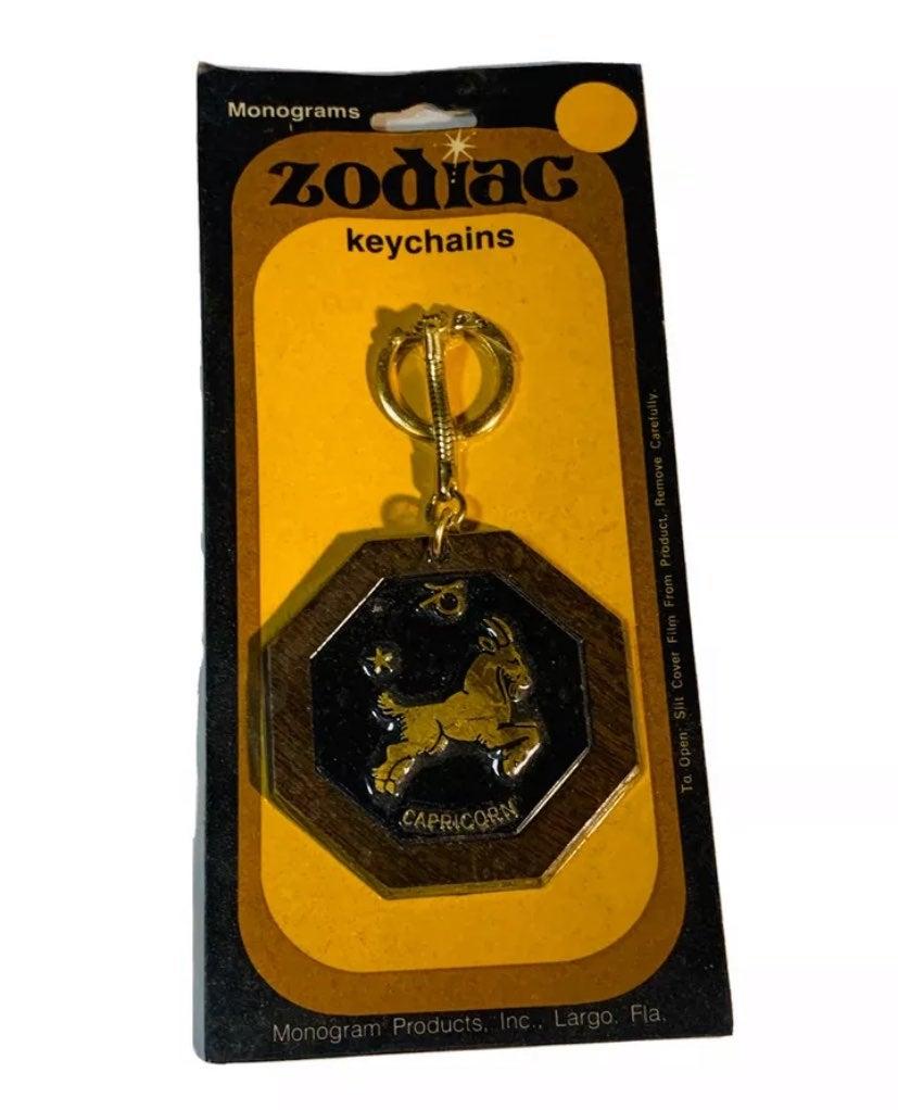 NOS Capricorn Zodiac Sign Wood Keychain