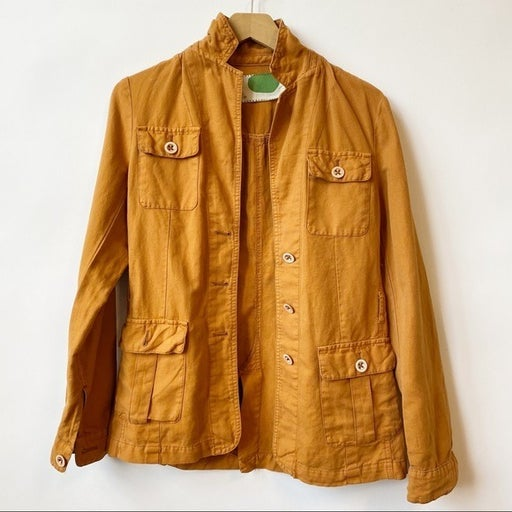Anthropologie Burnt Mustard Linen Boho Utility Jacket Women's Size 2 XS