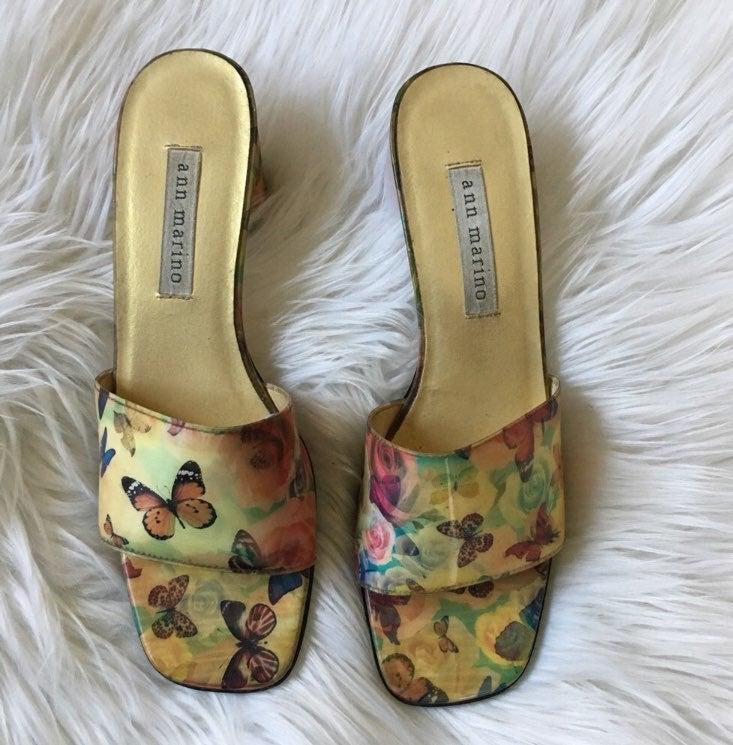 Ann Marino Spring Hologram Mule Sandals