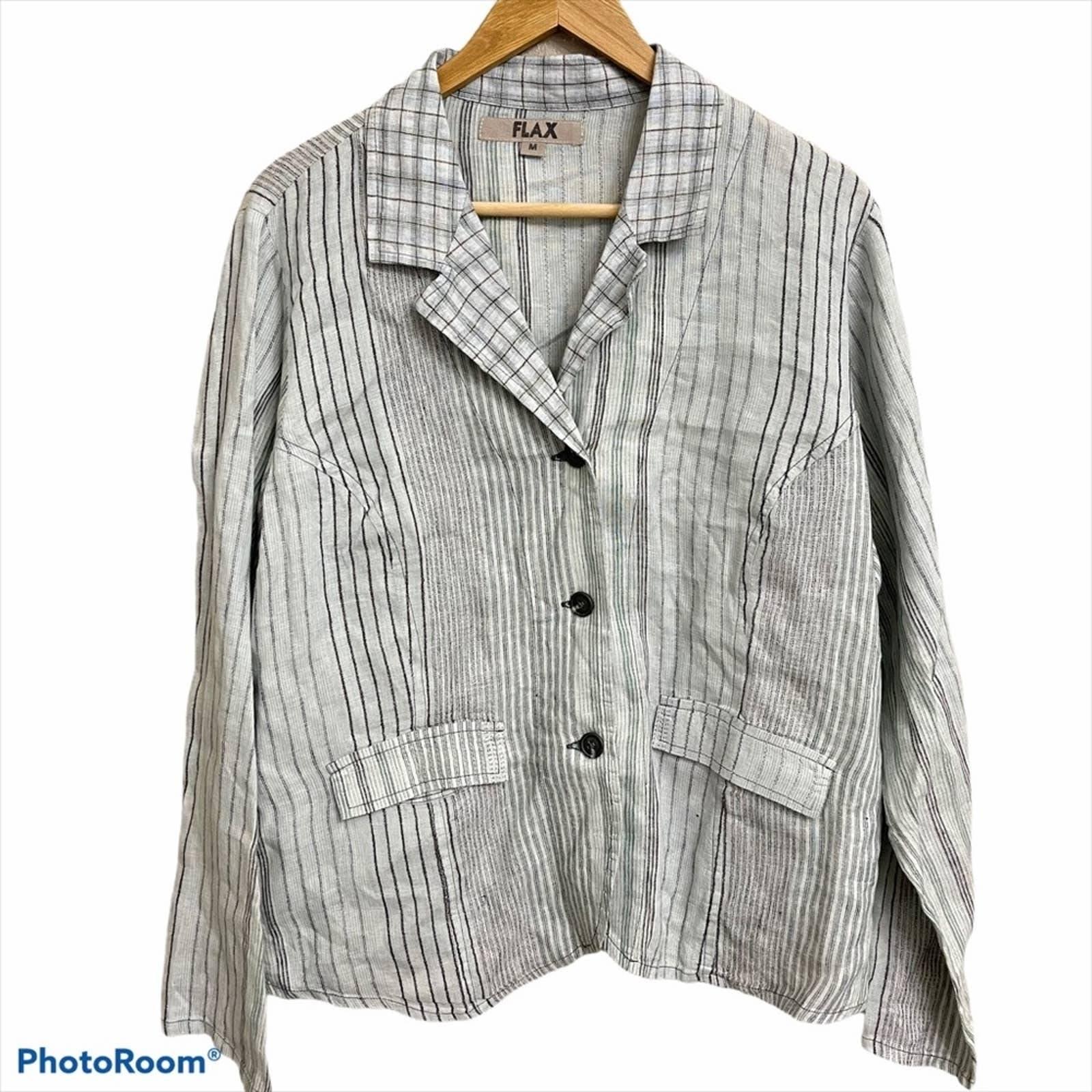 Flax linen stripes bottom down jacket