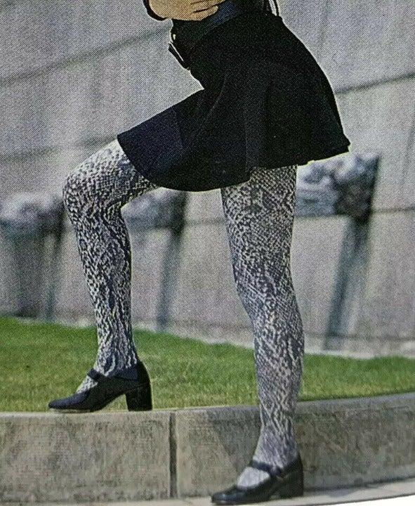 Snake Fashion Tights Print Style brown