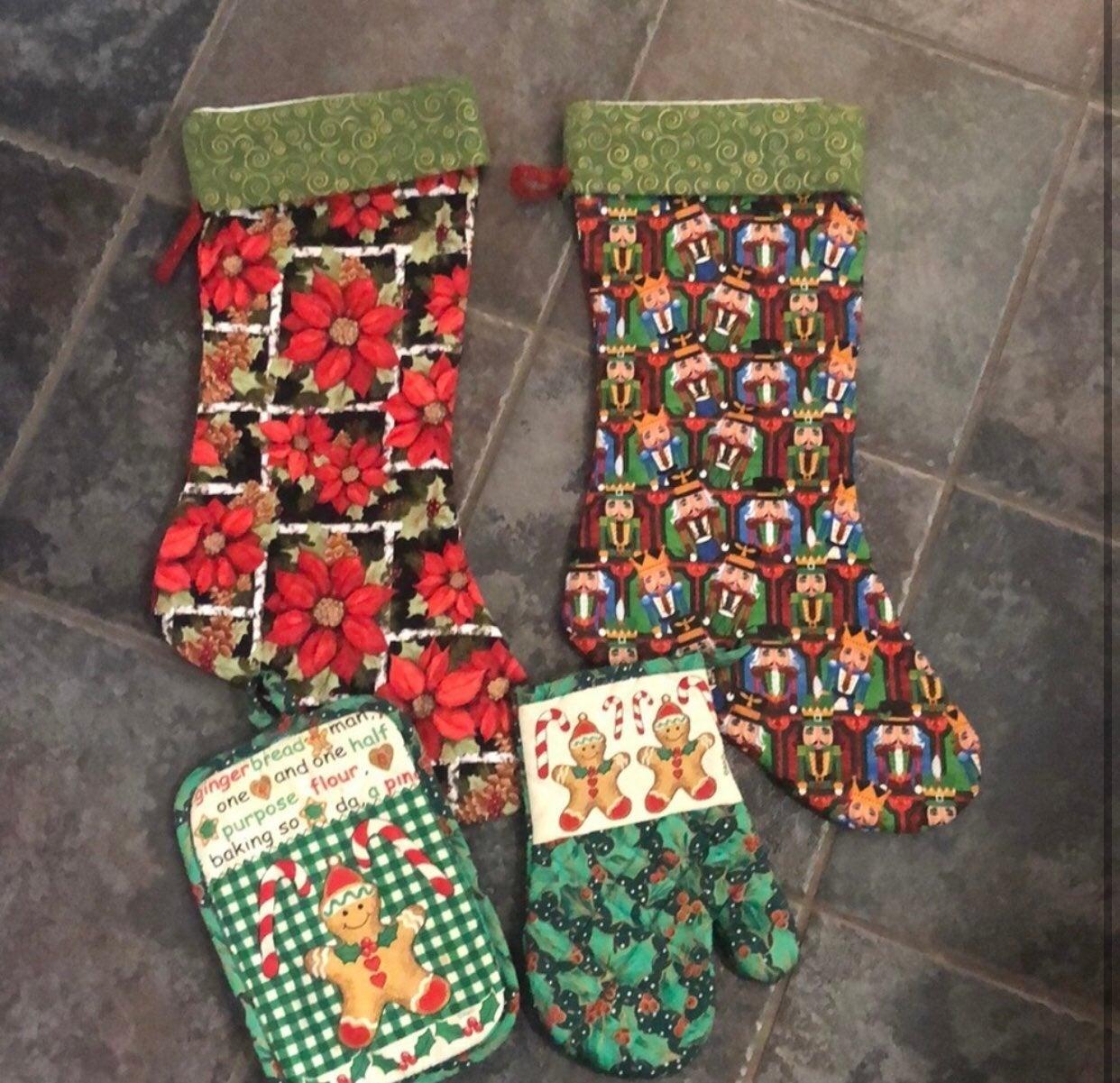 2 hand sewn stockings.
