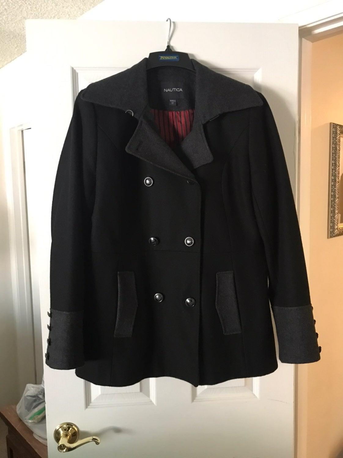 Nautica Black & Gray Wool Coat Womens XL