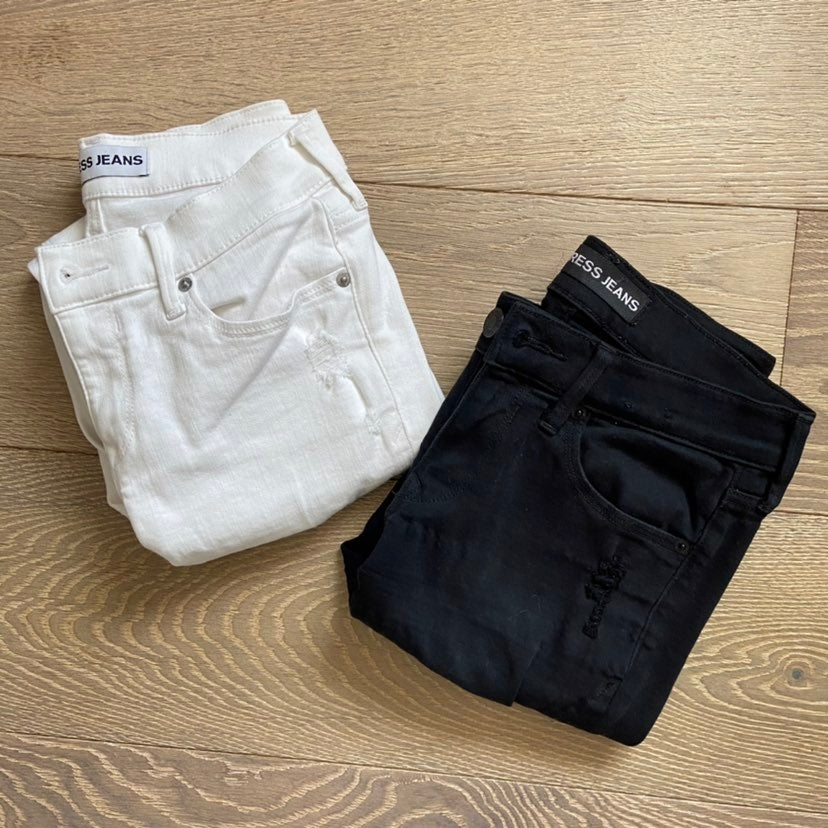EXPRESS White and Black Jeans