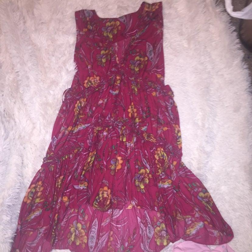 Free peolple red deep v neck shift dress
