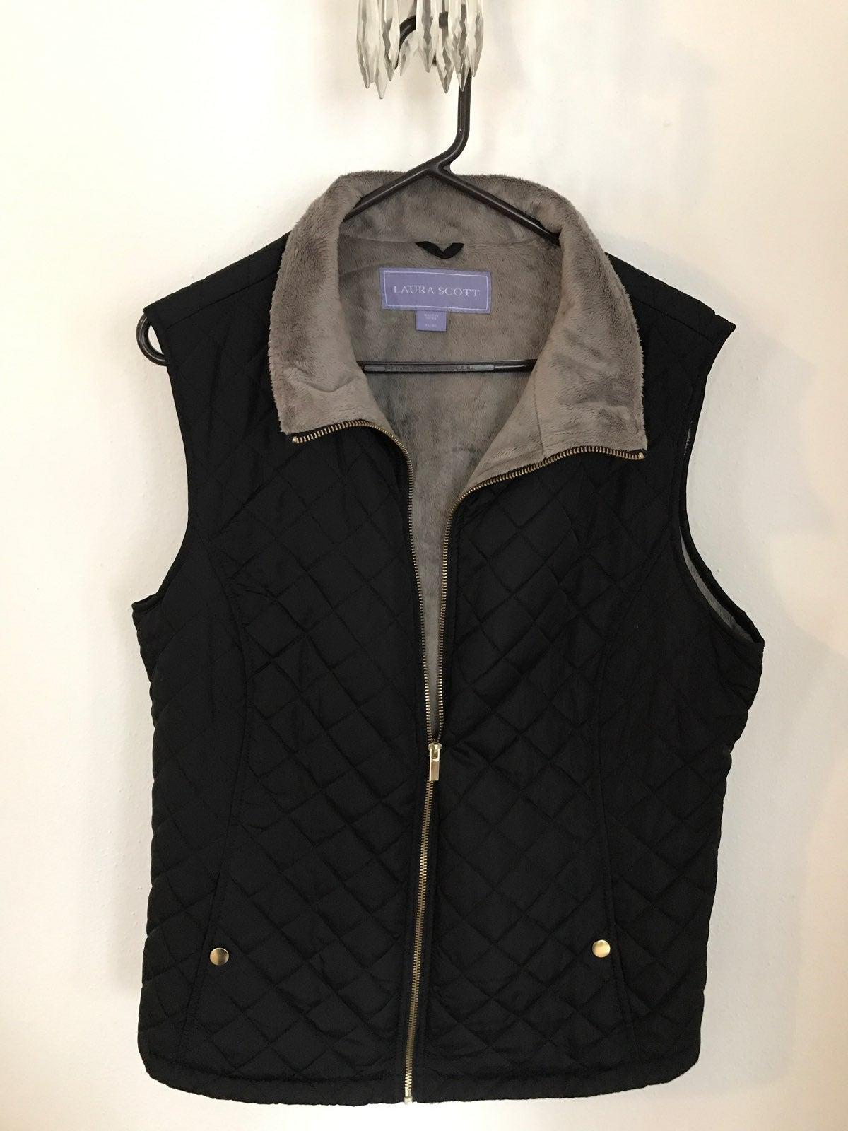 Fleece-lined Down Zip-up Vest
