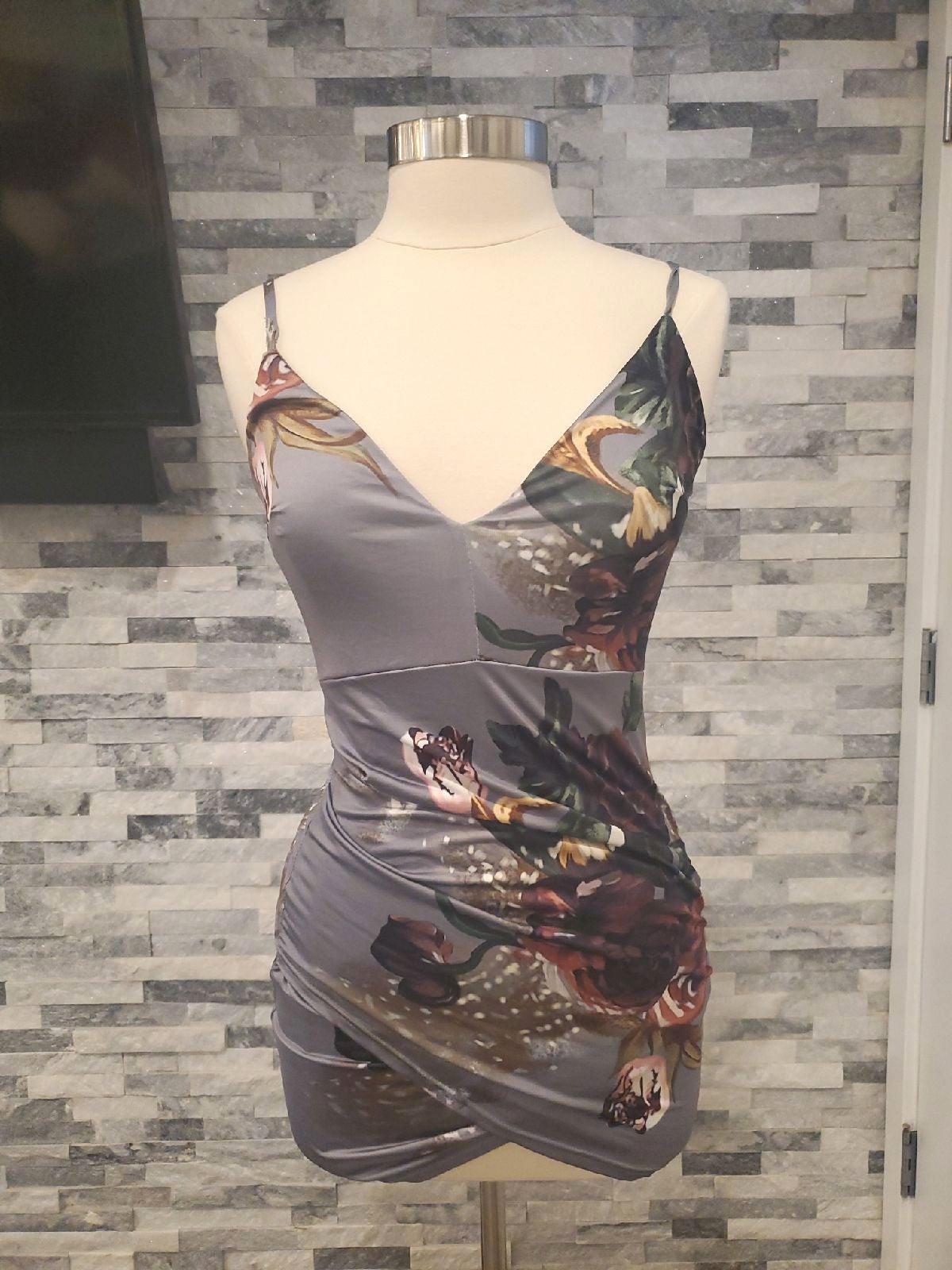 Grey Floral cocktail dress