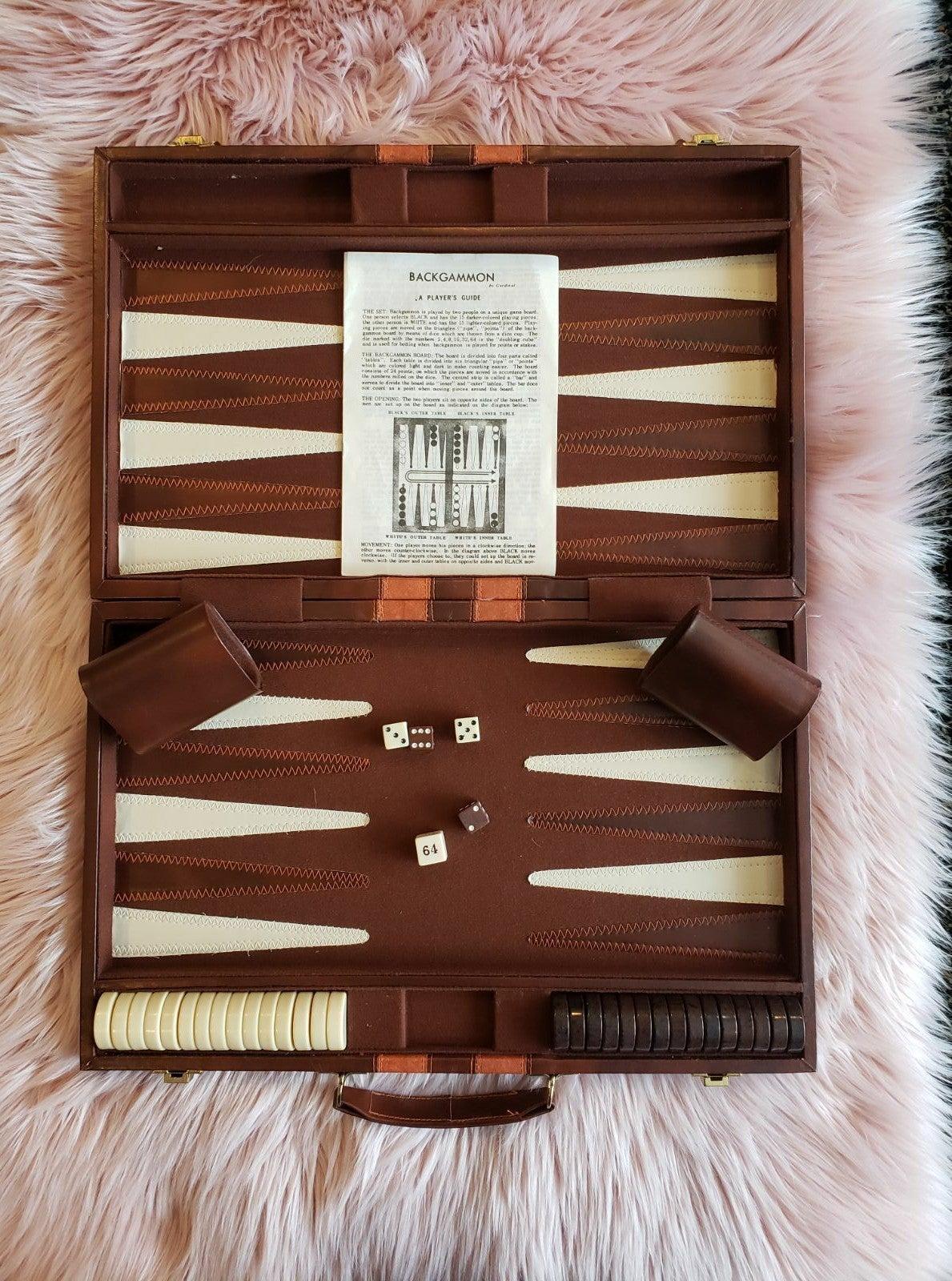 Vintage CARDINAL Backgammon Faux Leather