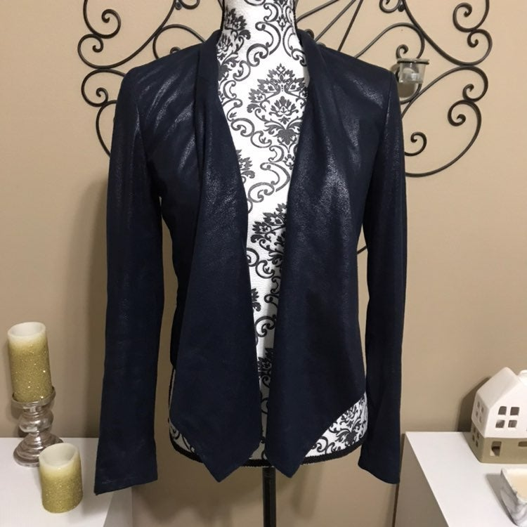 Inc Faux Suede Navy Blue Jacket S