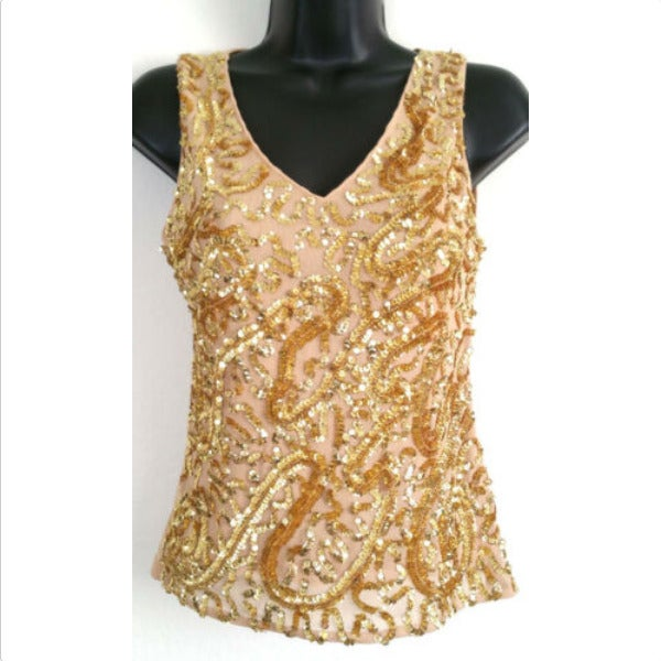 LAPIS Gold Sequined Tank Top 0363E1P
