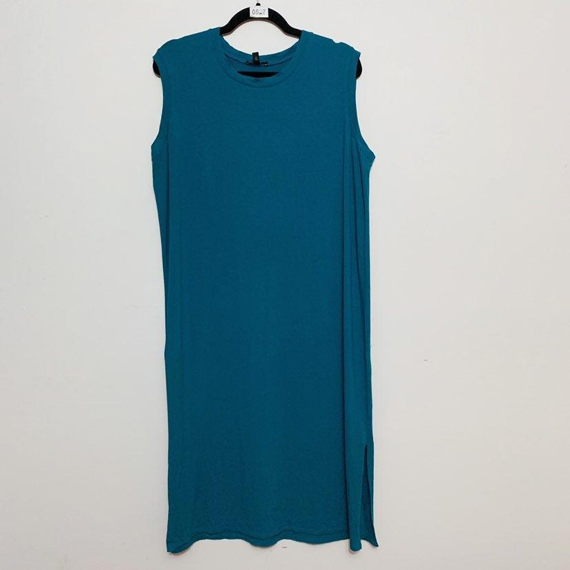 Eileen Fisher Teal Jersey Sheath Dress
