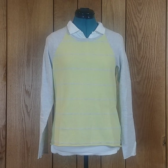 Sonoma Ragland Yellow Gray Pullover XS