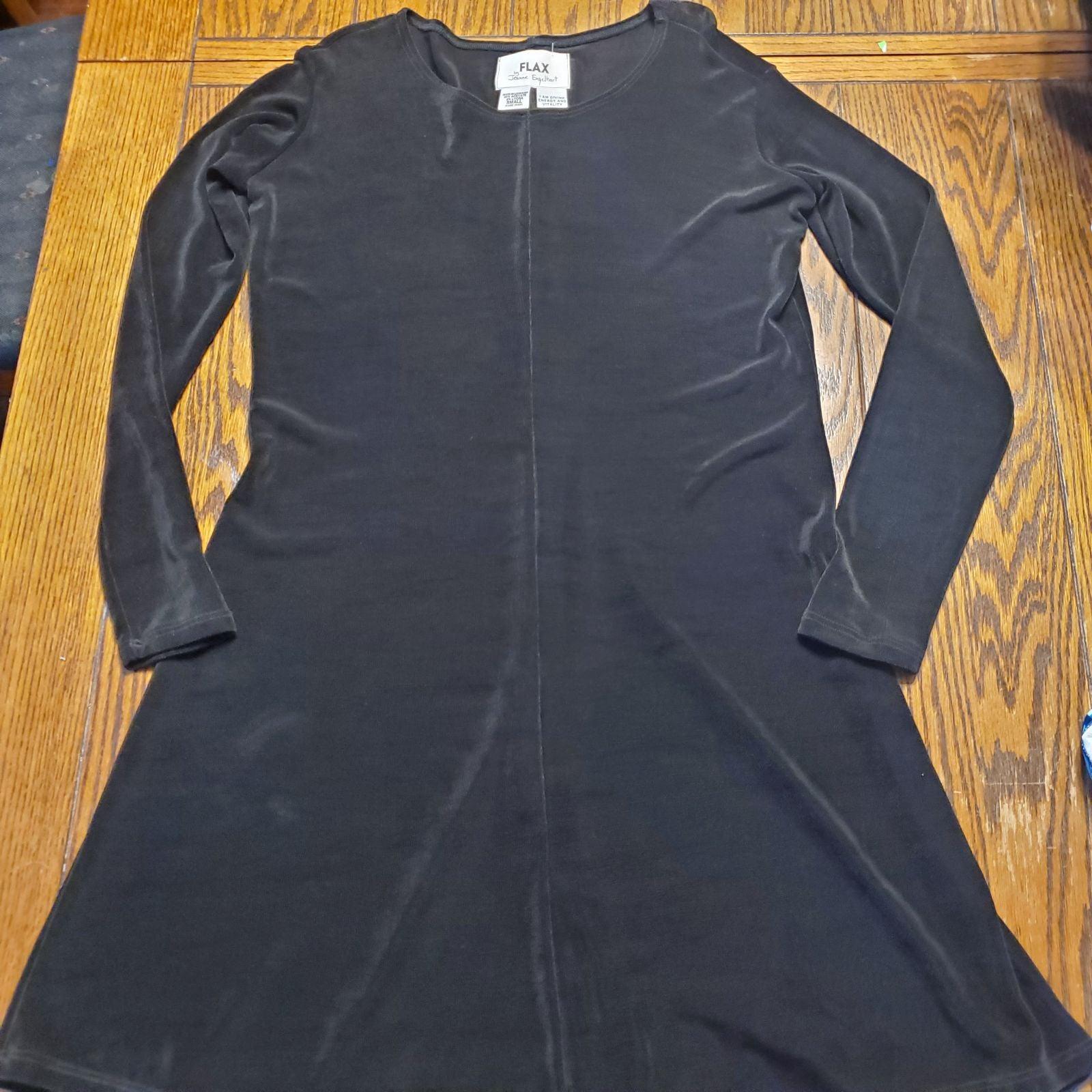 Flax brand black  acetate dress long sle