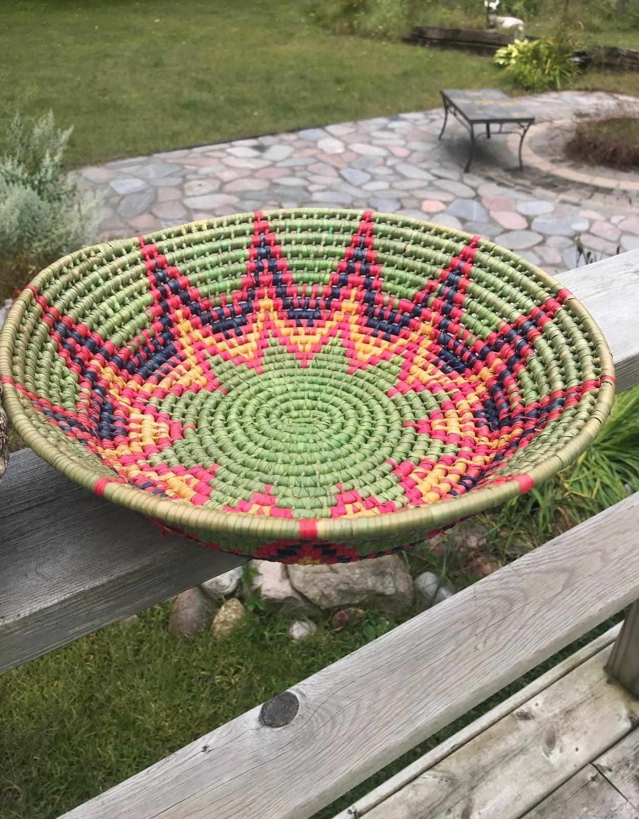 2 Old Woven Baskets, Wood Handle