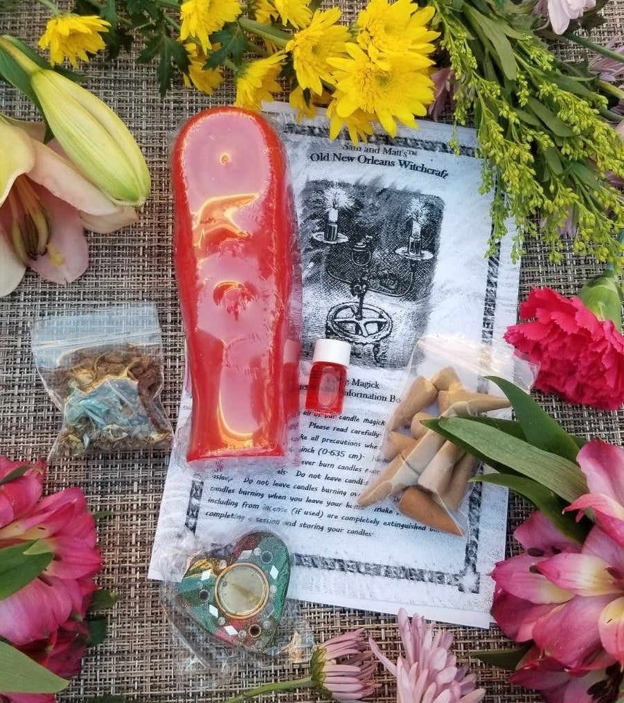 Red Mummy Candle Voodoo Spell Kit