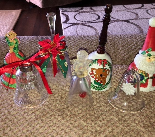 Lot of 7 Assorted Vintage Xmas Bells