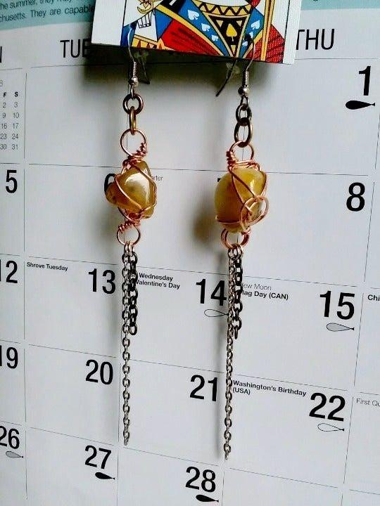 Agate Stone Chain Charm dangle Earrings