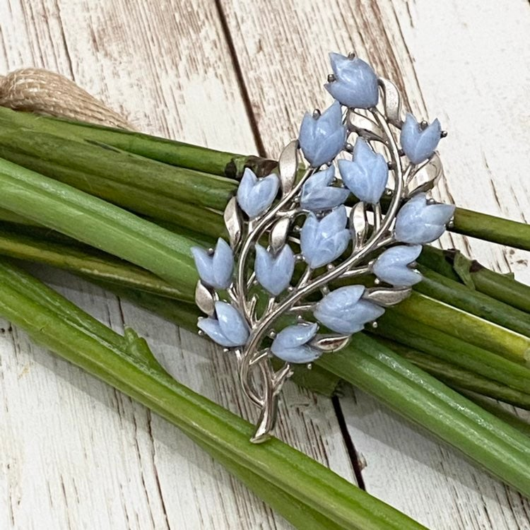 Signed Trifari Blue Flower Brooch