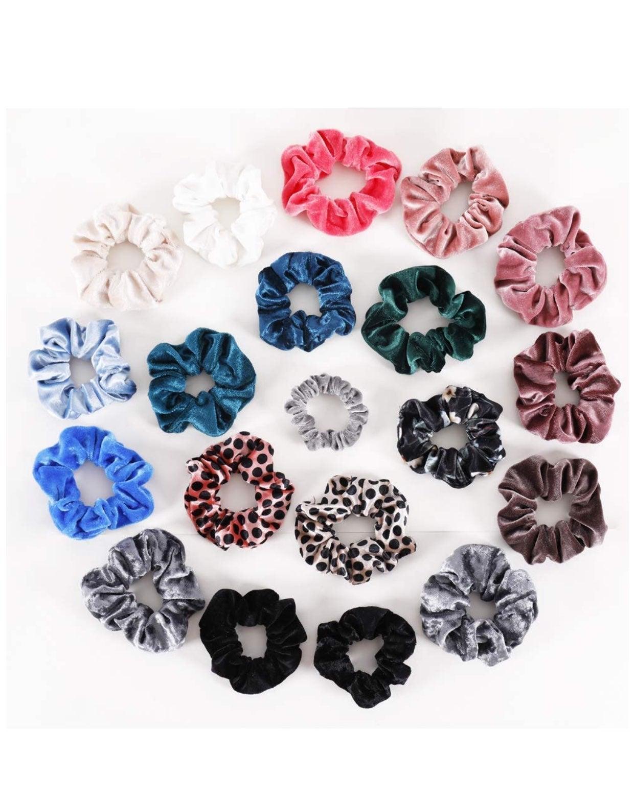 20 Pcs Hair Scrunchies Velvet Elastics B