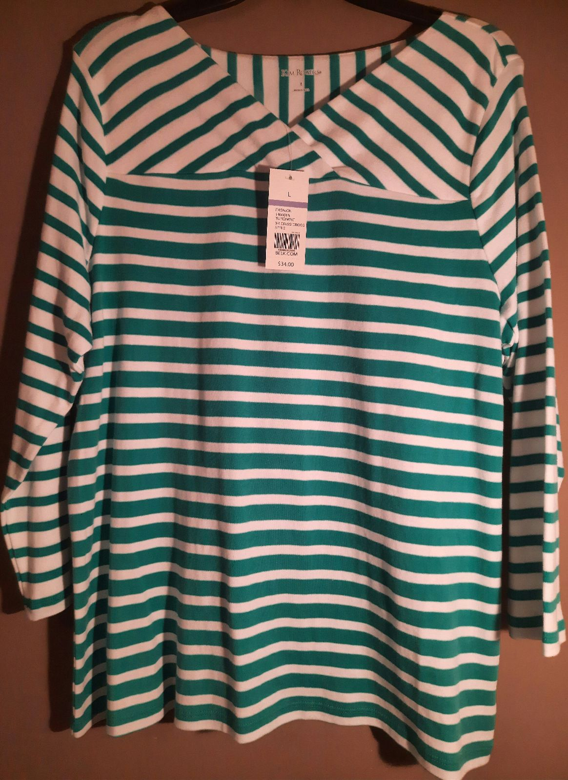 NWT Kim Rogers Stripe Turquoise Top L