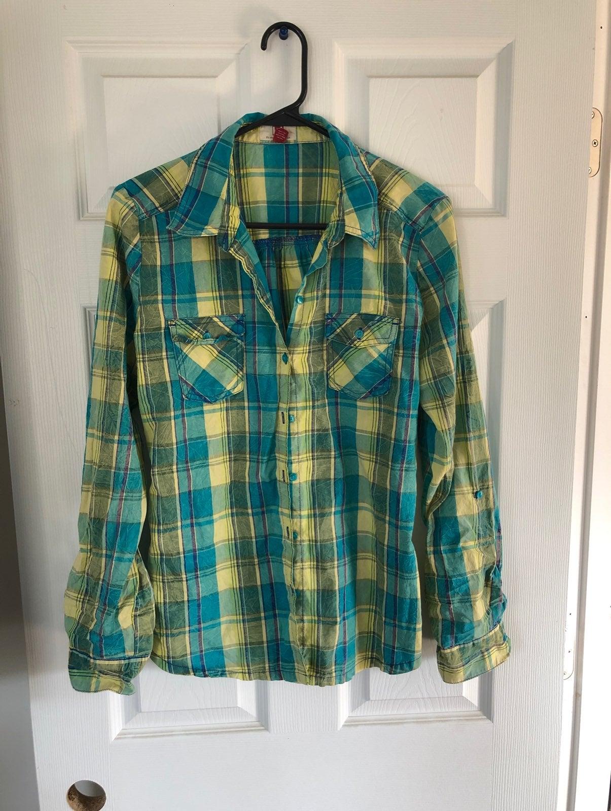 LEI Plaid Button Up Shirt Size L