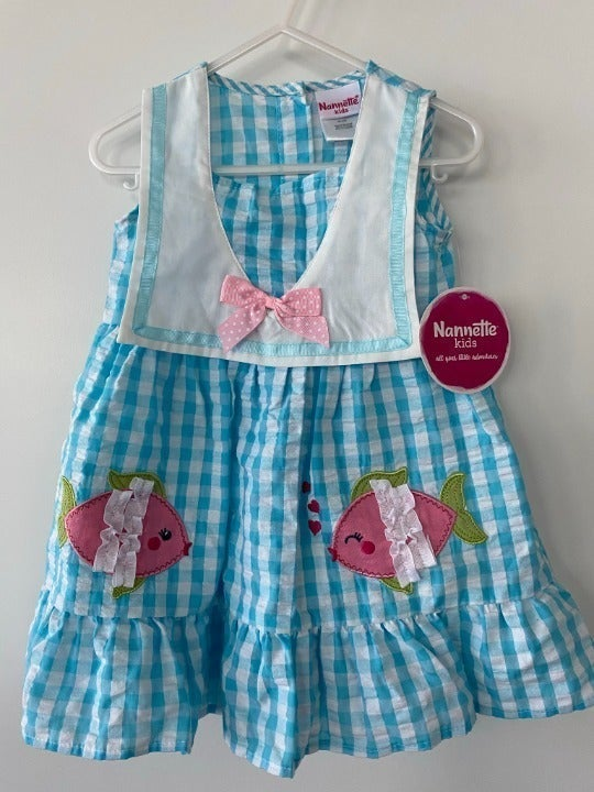 Girls NWT Nannette Gingham Fish Outfit