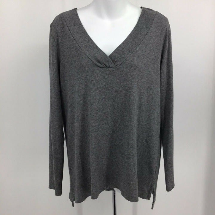 J. Jill Sz M V-Neck Long Sleeve Pima Top