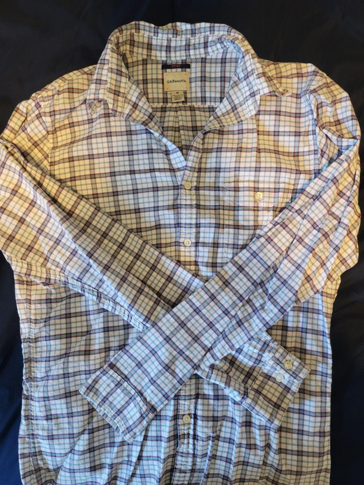 Bass /& CoLong Sleeve Plaid Flannel ShirtGray ComboMEDIUMNWT G.H