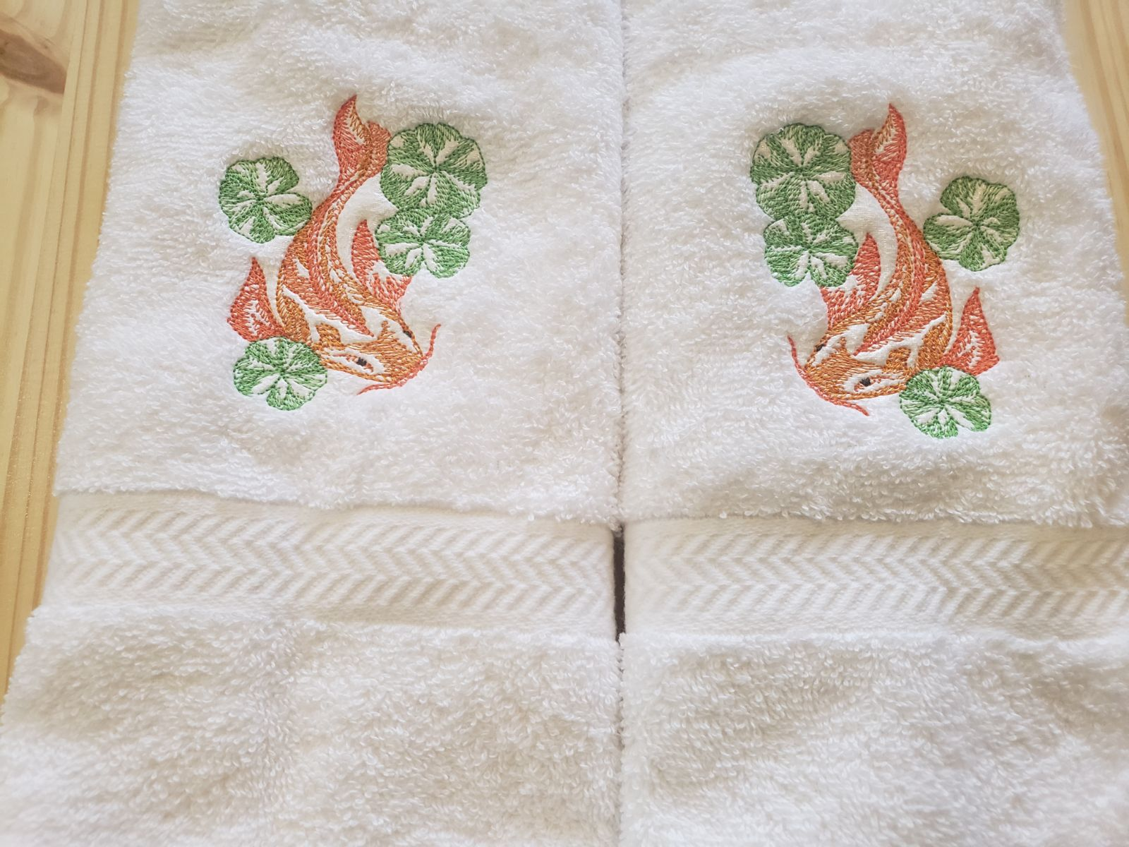 Custom embroidered Koi Fish hand t