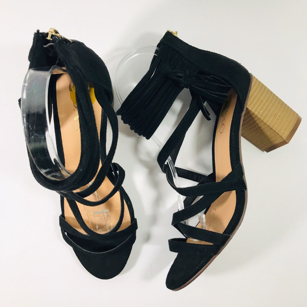 "XOXO ""Elle"" Black Strappy Block Heel NWT"