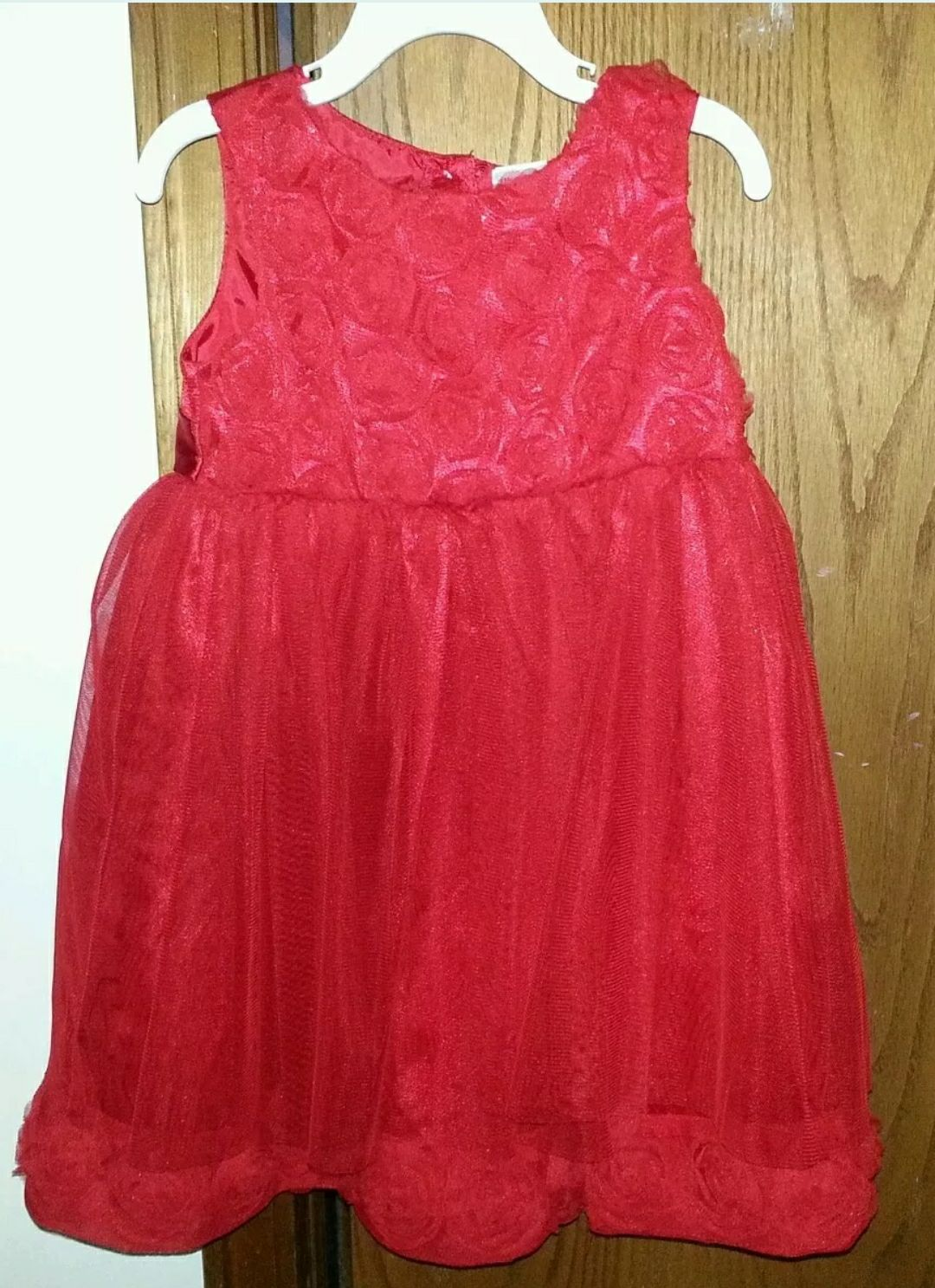 Red Dress with 3-D Roses & Tulle sz 4T n