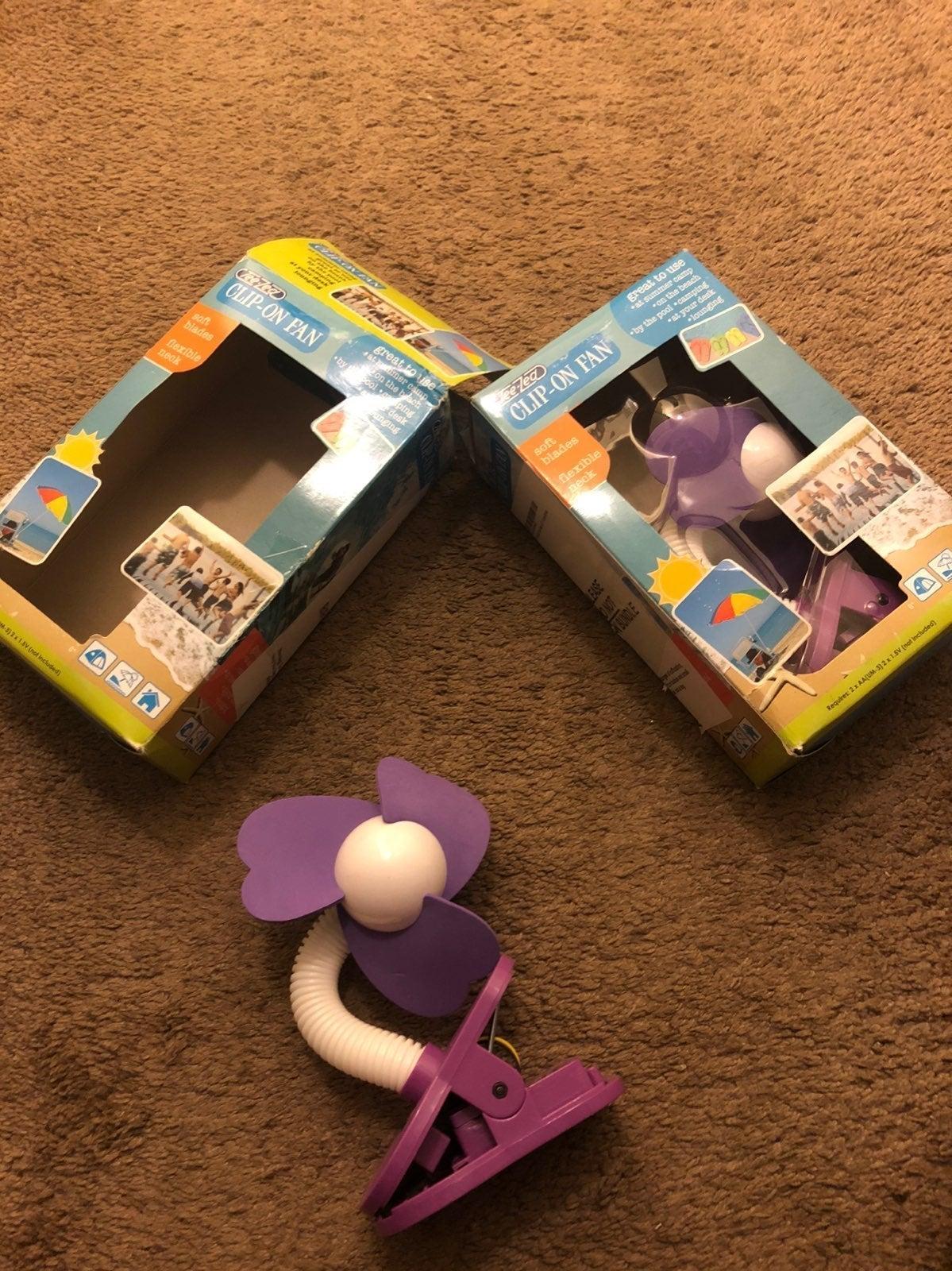 Bundle of (2) Purple Clip On Fans
