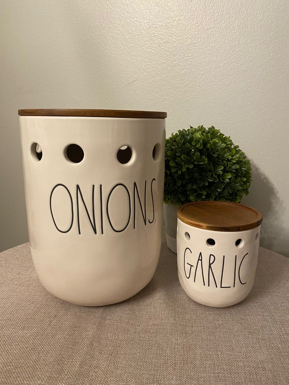 Rae Dunn Onions & Garlic Cellars