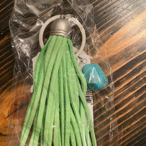 C.R. Gibson green tassle keychain