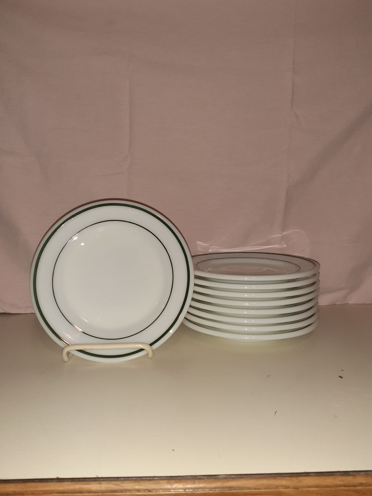 "9 Corning Decor 6¾"" Plates GREEN BAND Op"