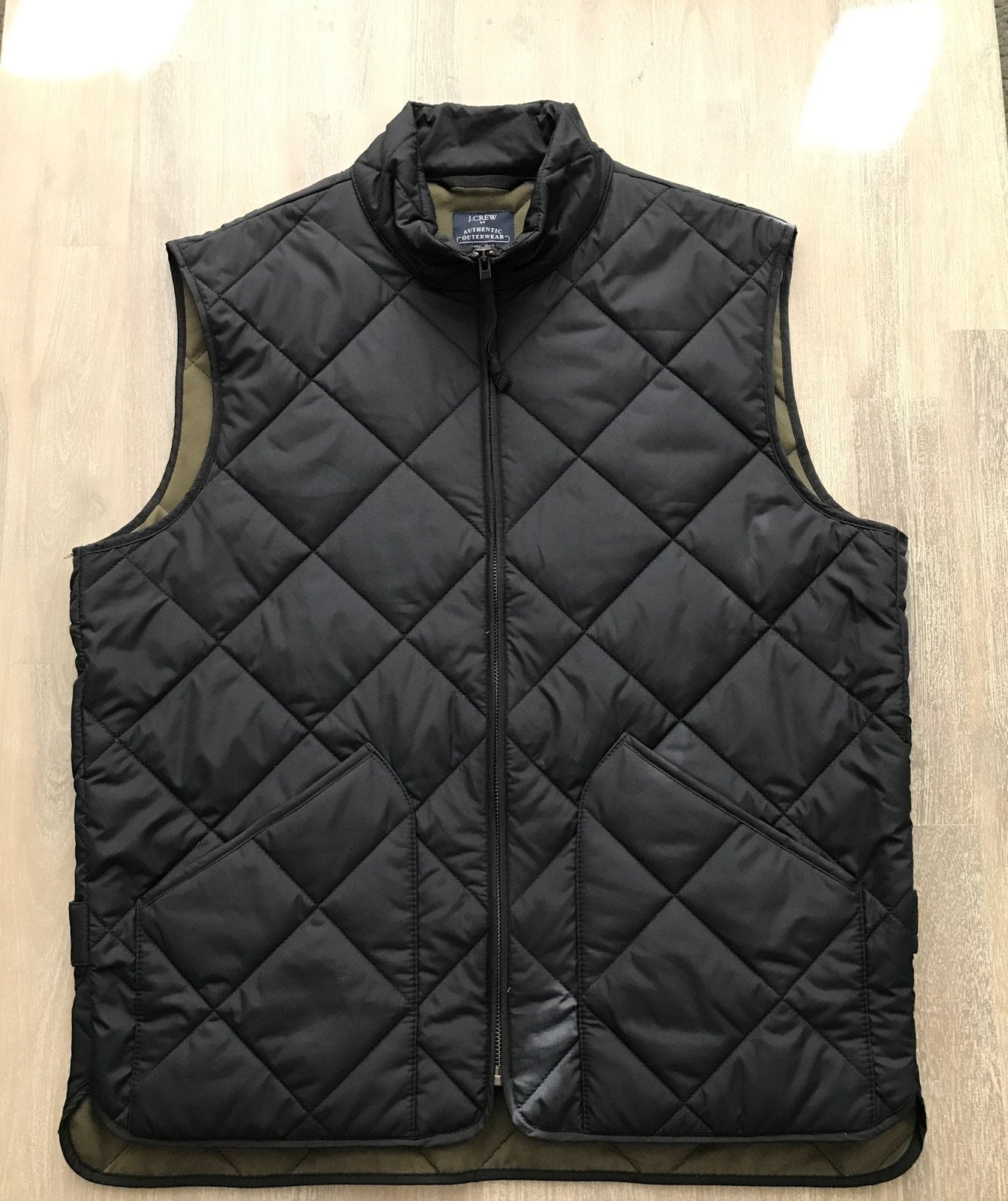 Men's outerwear vest zip front black J.C