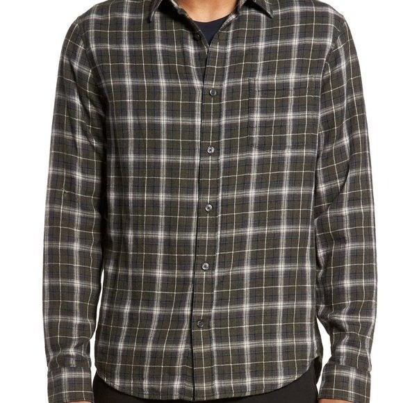 VINCE Double Face Plaid Button Shirt