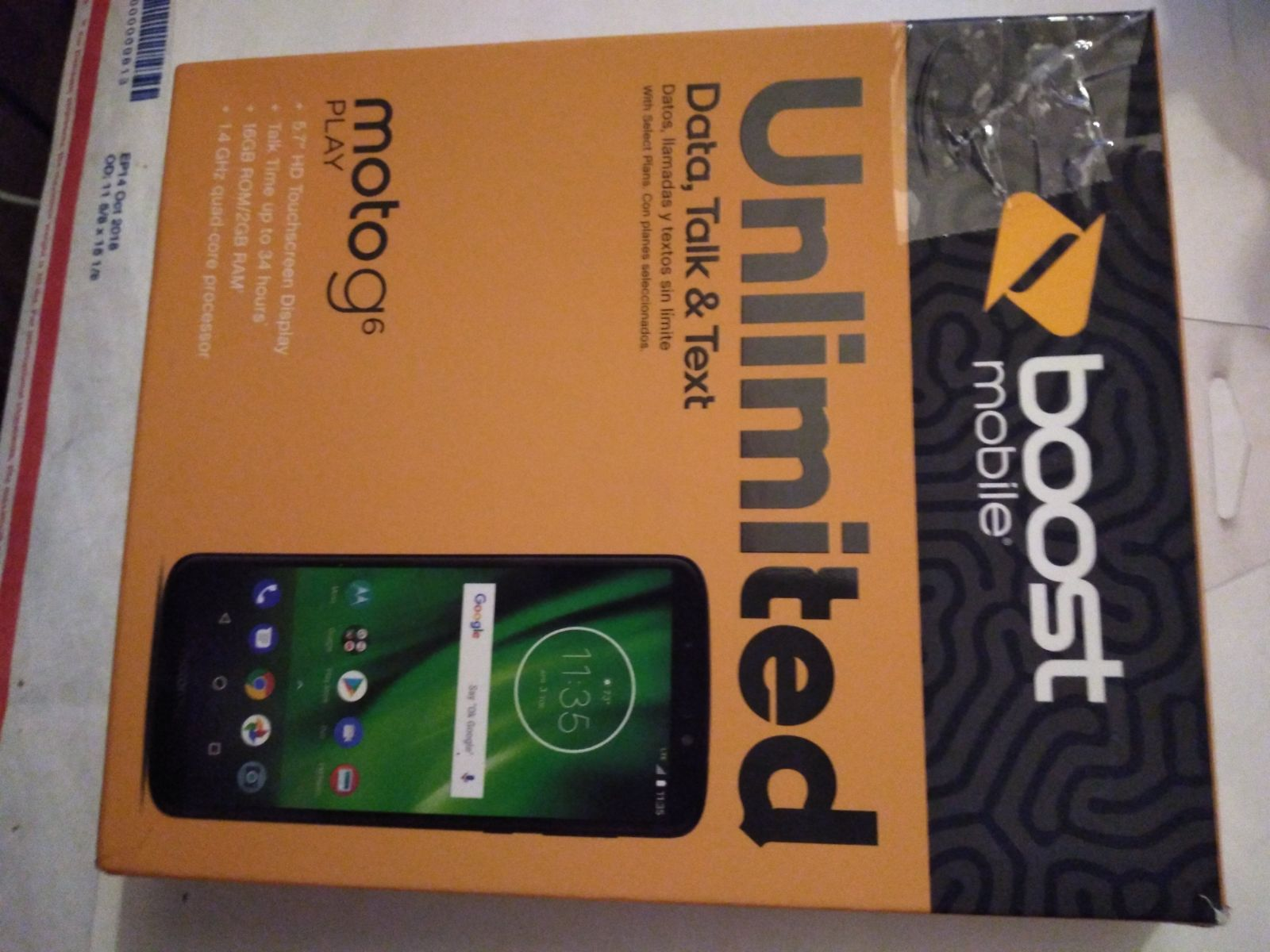 Motorola G6 play for Boost mobile in min