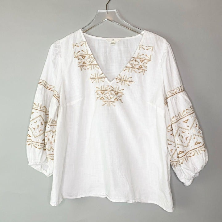 H & M LOGO Peasant Embroider Boho Blouse